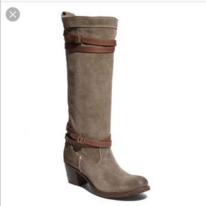 Frye Jane tall strappy boots, fatigue oiled suede